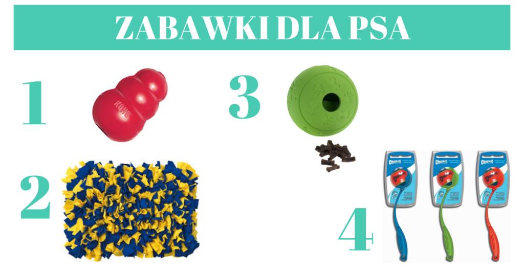 Zabawki dla psa: kong, mata węchowa, kula na smakołyki, wyrzutnia do piłek.